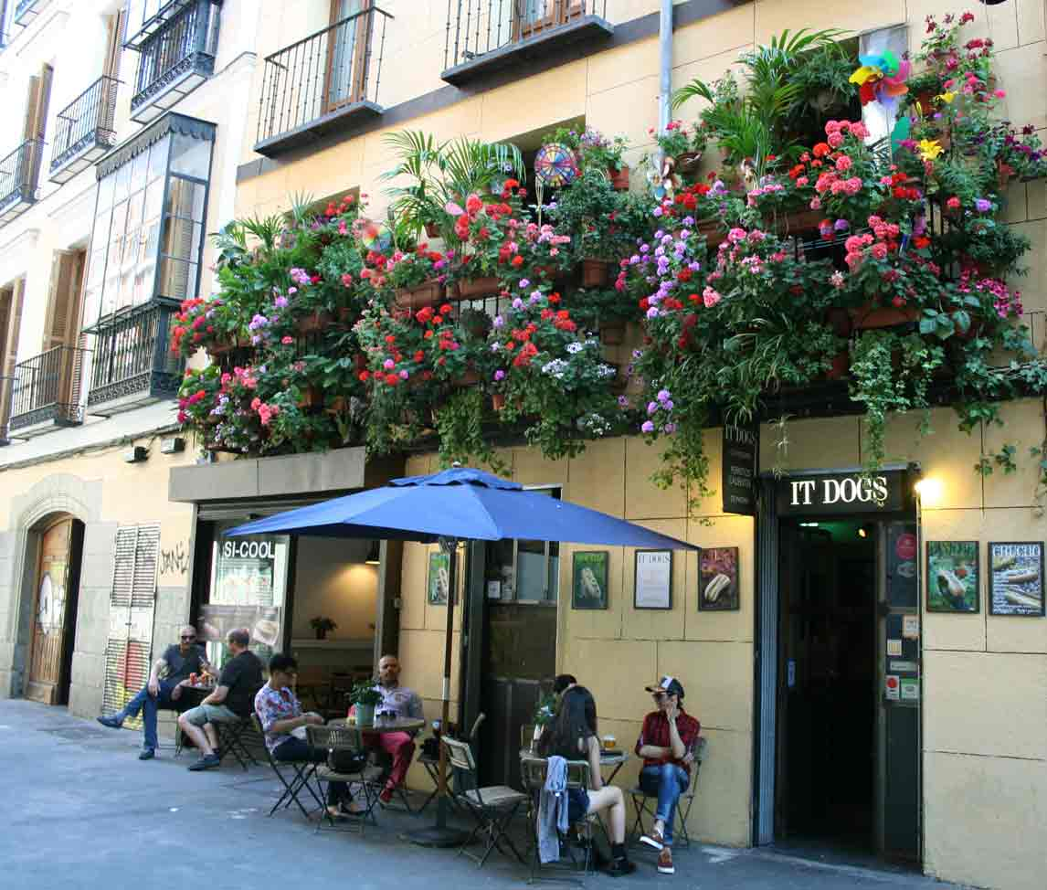 balcones con plantas y un bar debajo