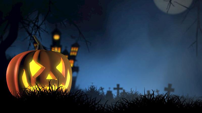 Ilustración digital de Halloween, paisaje nocturno con una calabaza en un cementerio