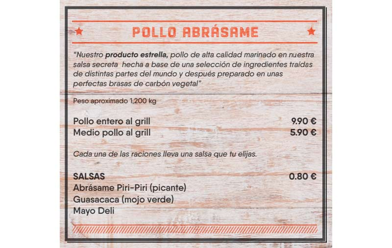 carta del restaurante con el precio