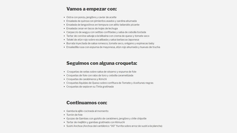 carta del restaurante Gastro Chema Soler