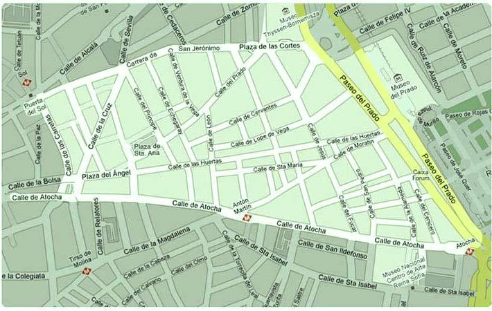 mapa de las que componen el barrio de las letras