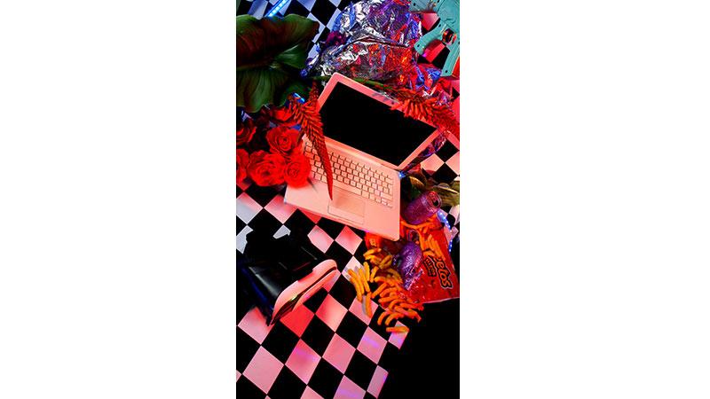 imagen del portafolio de la artista. Portátil entre flores y comida