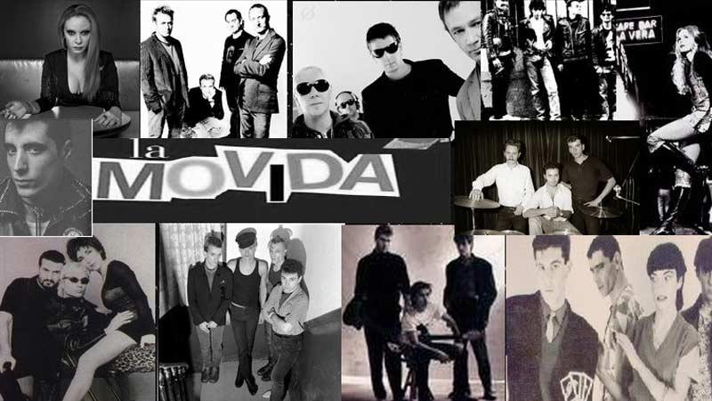 collage de la movida madrileña de los 80 en el que aparecen distintos grupos de música del momento