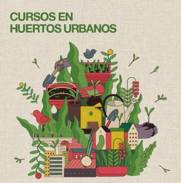 Cartel de cursos en huertos urbanos