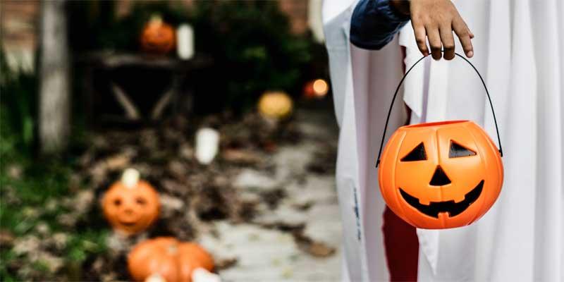 Niño disfrazado con una cesta para caramelos con forma de calabaza