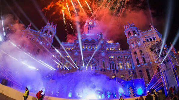Luces en el ayuntamiento de Madrid