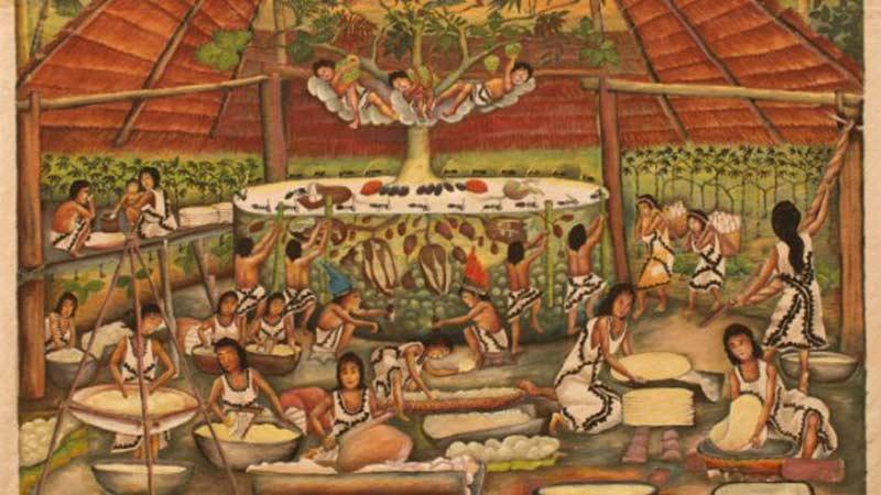 Cuadro de personas en una cabaña haciendo labores de pan y un árbol en el medio donde han subido tres niños