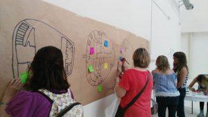 Grupo de mujeres planeando un proyecto social sobre un papel marrón en la pared