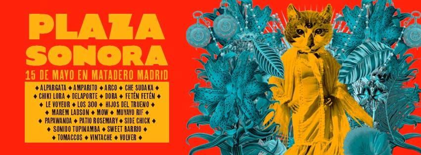 Cartel del Festival Plaza Sonora con una cara de gato con tres ojos en el cuerpo de una mujer y vegetación alrededor de esta