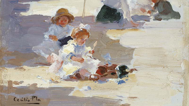 Obra de Cecilio Pla de unos niños jugando en la playa