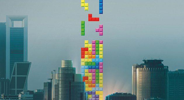 madrid mezclado con el videojuego de tetris