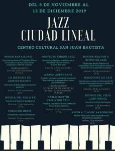 Cartel - programación de jazz en ciudad lineal