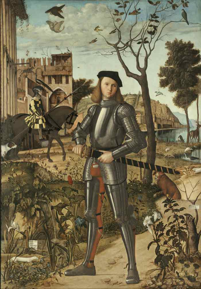 Cuadro de Carpaccio 'Joven caballero en un paisaje'.