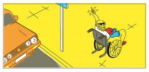 Dibujo de un hombre en silla de ruedas cerrando su coche.