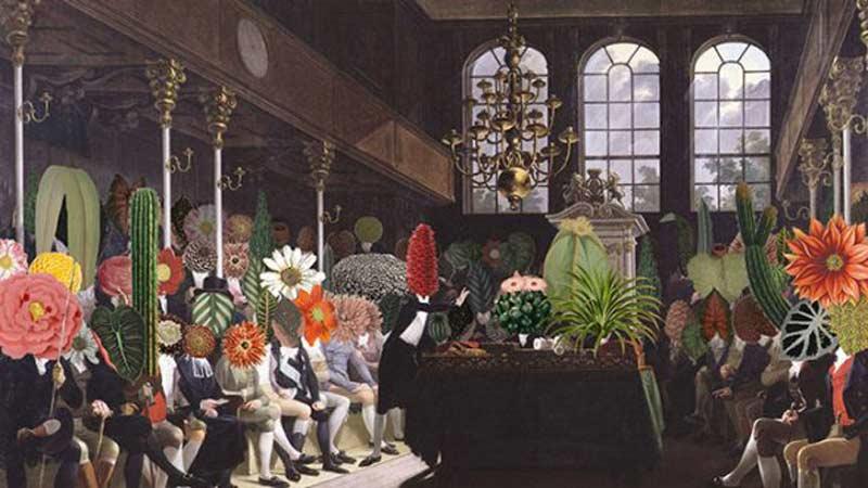 Hombres en un parlamento con cabezas de plantas.