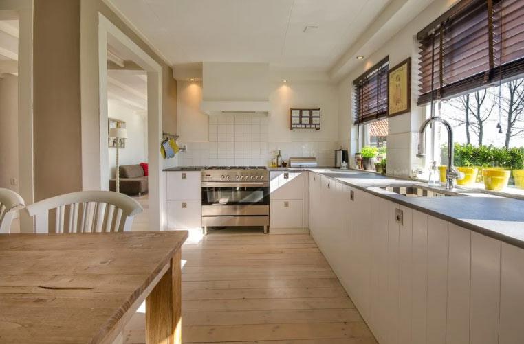 diseño de cocina piso de obra nueva