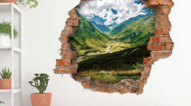 vinilo de pared con paisaje de montañas