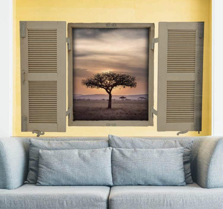 vinilo decorativo mural mostrando imagen de una árbol al atardecer