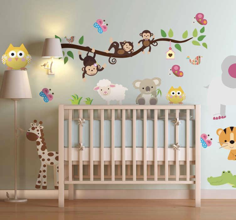 vinilo infantil con imágenes de animales
