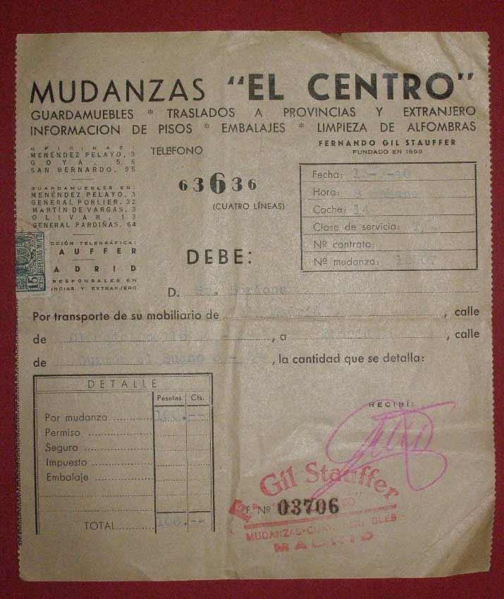 factura antigua de mudanzas el centro con sello de gil stauffer